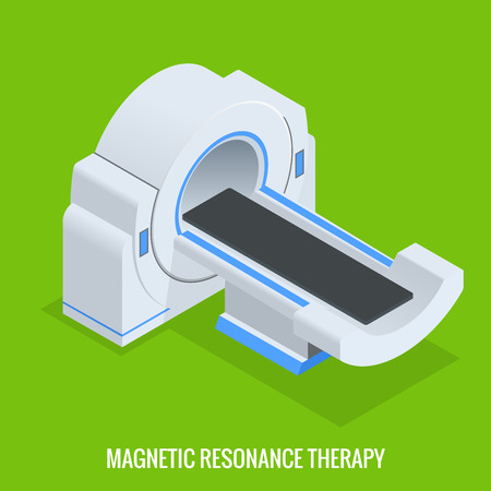 resonancia magnética: MRT máquina de resonancia magnética en radiología en un hospital. Tomografía computarizada, radiografía con múltiples detectores rebanada. El sistema produce imágenes transversales detalladas y 3D. Vectores