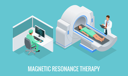 Doctor looking at results of patient brain scan on the monitor screens in front of MRI machine with man lying down. Flat isometric vector illustration. Illustration
