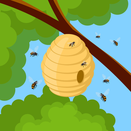 Honey bees and hive on tree branch. Vector illustration of bee house with a circular entrance. Insect life in nature