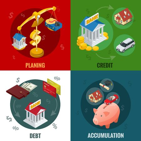 Isometric buying on credit, cashless payments, debit credit balances bookkeeping budget planning concept and accumulation. Flat infographic elements Illustration