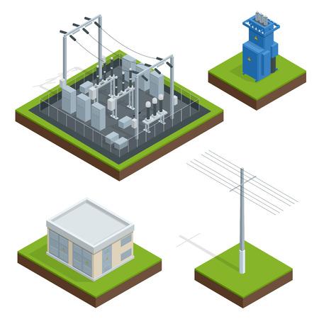 Chaîne de distribution de l'usine d'énergie électrique. Communication, ville technologique, électricité, énergie. Illustration isométrique vectorielle