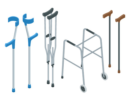 Isometric set of mobility aids including a wheelchair, walker, crutches, quad cane, and forearm crutches. Vector illustration. Health care concept. Иллюстрация