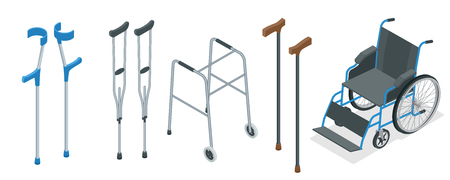 Isometric set of mobility aids including a wheelchair, walker, crutches, quad cane, and forearm crutches. Vector illustration. Health care concept. Stock Illustratie