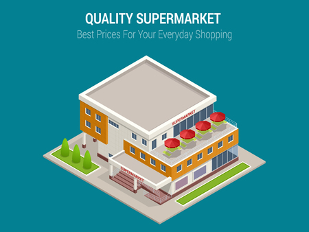 ortseingangsschild: Isometric Large supermarket shopping 3d commercial center with shops and a cafe.