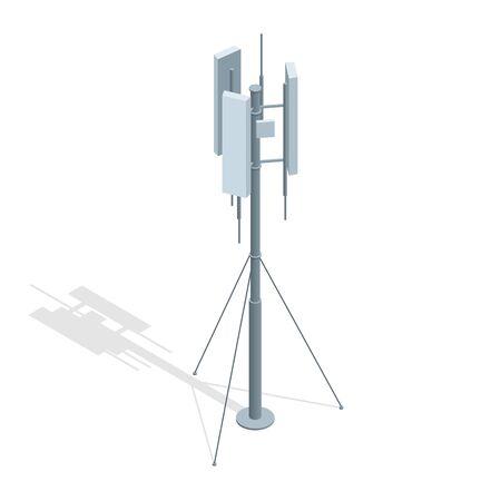 Isometrische Telekommunikationstürme. Ein Mobiltelefon Kommunikation Repeater Antenne Vektor flache Abbildung