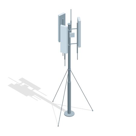 Isometric Telecommunications towers. A mobile phone communication repeater antenna vector flat illustration Vectores