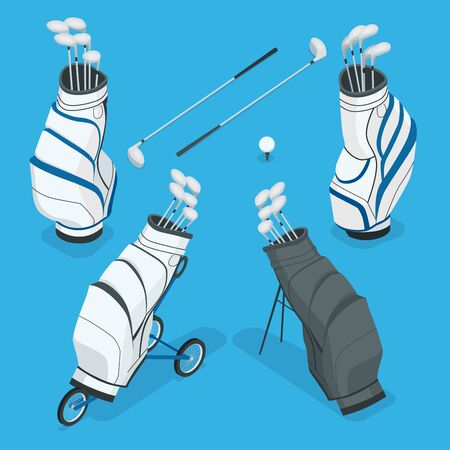 Isometric set of a golf clubs in a white bag. Flat 3d vector illustration isolated on white background.