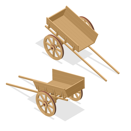 Isometric vintage wooden cart. Flat 3d vector illustration isolated on white