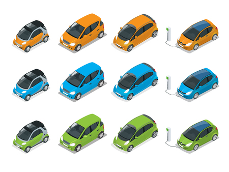Isometric Hybrid, Electric and Mini Cars. City cars isolated on white background.