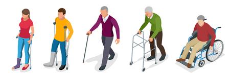 다리 또는 다리 부상의 골절. 목발, 휠체어와 gyse에 젊고 노인. 외상 후 재활. 정형 외과학 및 의학. 플랫 3D 아이소 메트릭 그림 스톡 콘텐츠