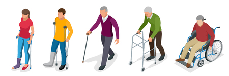 Fracture of leg or leg injury. Young and old people in a gyse with crutches, a wheelchair. Rehabilitation after trauma. Orthopedics and medicine. Flat 3d isometric illustration Foto de archivo