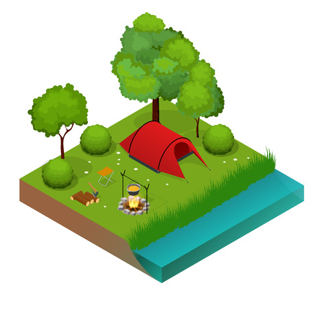 Summer Camping and tent near a river or lake. Flat 3d vector isometric illustration. Vacation and holiday concept.