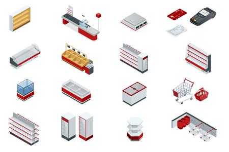 Vector isometric set elements for super market interior plan.