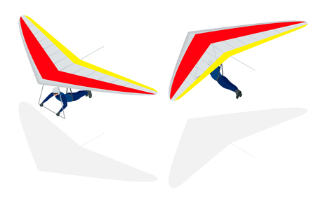 Isometric Hang glider soaring the thermal updrafts suspended on a harness below the wing, isolated on white.