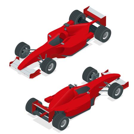 等尺性の赤いスポーツ ・ カーやフォーミュラカー 1。平らな 3 d 等角投影図。インフォ グラフィックのデザイン