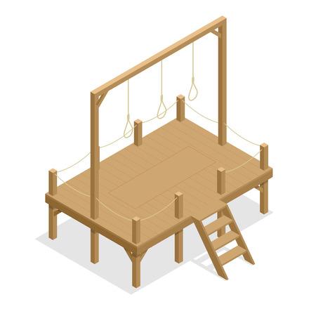 Gra wektor rysunek szubienicy, liny samobójstwo. Isometric powieszenia Płaska 3d ilustracja. Do infografiki, gry i projektowania