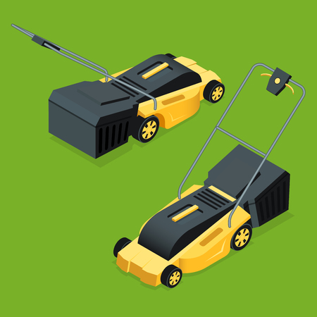 Electric yellow lawn mower in summertime. Lawn grass service concept. Isometric flat vector illustration. Garden equipment.