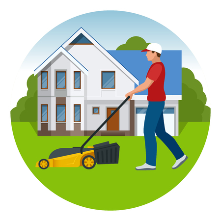 Man mowing the lawn with yellow lawn mower in summertime. Lawn grass service concept. Flat vector illustration Illustration