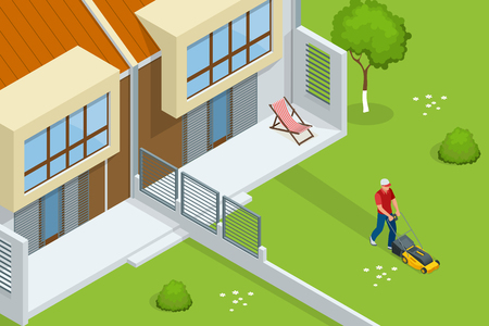 Man mowing the lawn with yellow lawn mower in summertime. Lawn grass service concept. Isometric vector illustration
