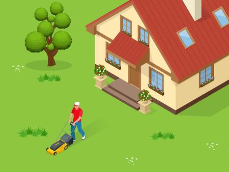L'homme tondre la pelouse avec tondeuse à gazon jaune en été. concept de service d'herbe de la pelouse. illustration vectorielle isométriques