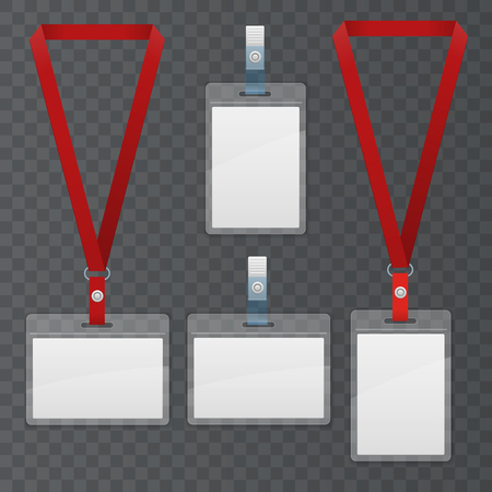 Set of lanyard and badge. Template Plastic Badge Identification Set Can Be Used for Presentation, Company or Office.