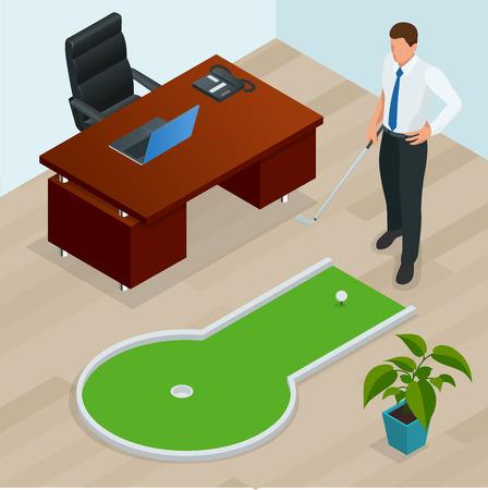 Geschäftsmann spielt Minigolf in seinem Büro. Perfekt für Produkte wie T-Shirts, Kissen, Albumcover, Webseiten, Flyer, Plakate oder Design
