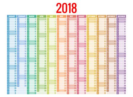 2018 달력. 템플릿을 인쇄합니다. 주 일요일을 시작합니다. 세로 방향. 12 개월의 설정. 2018 년에 플래너. 일러스트