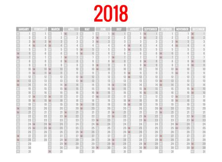 2018 calendar. Print Template. Week Starts Sunday. Portrait Orientation. Set of 12 Months. Planner for 2018 Year.