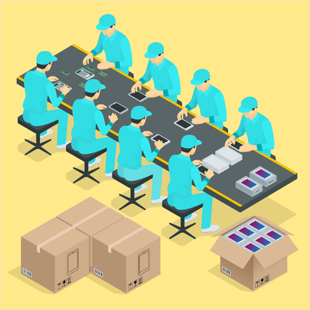 Factory Manual assembly line with works and conveyor belt controlled manufacturing process isometric poster vector illustration