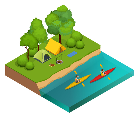 Isometric Camping on the river bank. Tents, bonfire and kayaking on the river. Vacation and holiday concept.