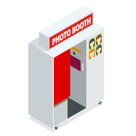 Isometric Compact Photo Booth. Flat 3d isometric illustration. For infographics and design games. Photorealistic and Template photo design.