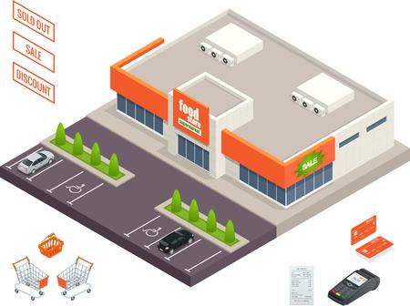 Supermercado exterior, carrito de crédito, pos terminal, caja, minimarket, banktomat, mujer sosteniendo carrito de la compra. Vector ilustración isométrica
