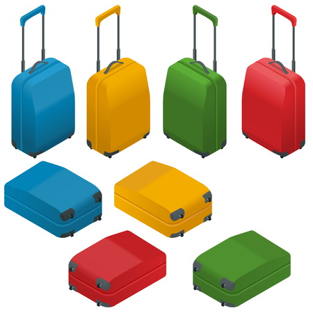 Travel Suitcases. Flat Vector isometric illustration