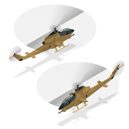 Isometric single-engine attack helicopter. Military air transport.