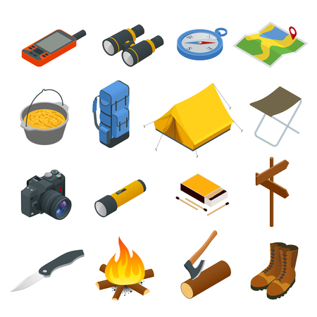 Hiking icons set. Camping equipment vector collection. Binoculars, bowl, barbecue, boat, lantern, shoes, hat, tent, campfire. Base camp gear and accessories. Camping icon set. Hike outdoor elements. Ilustrace