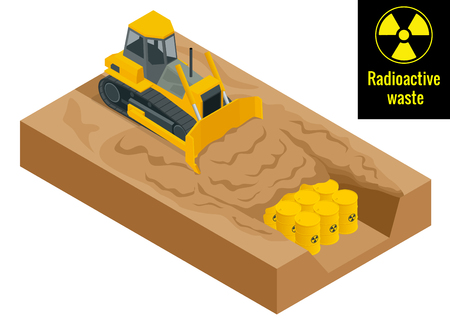 tractor warning: The tractor digs in drums with radioactive waste in yellow barrels. Radioactive danger concept. Flat 3d vector illustration. Environment protection.