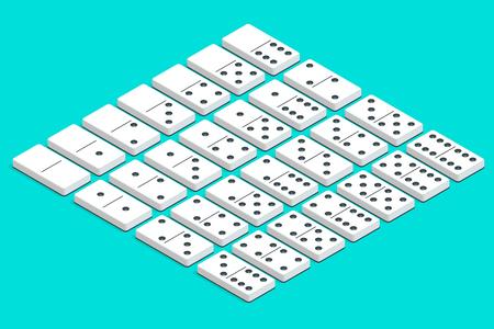Full set of white isometric dominoes. Complete double-six set