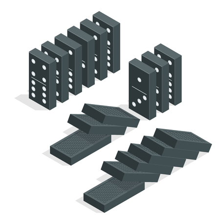 backgammon: Domino effect. Full set of black isometric dominoes isolated on white. Flat vector illustration