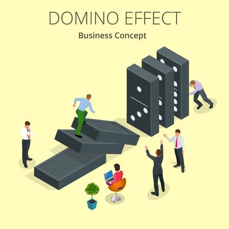 Isometric Man Start Effet domino a et Concept de réaction en chaîne. Métaphore d'affaires. Solution d'affaires et aide aux thèmes d'affaires.