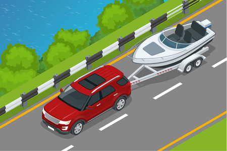motorboat: The SUV drives a motor boat along the road along the sea. Summer vacation on the sea and motor boat rides.