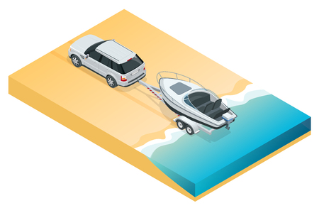 Boat or cutter on a trailer. Illustration
