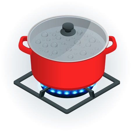 Isometric A pot on a gas cooker on a white background. Vector Blue flame.