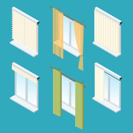 Ventanas, cortinas, cortinas, cortinas, persianas isométricas. Colección de vectores de diversos tratamientos de ventana Ilustración de vector