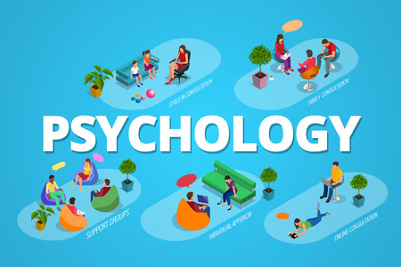 Psychological therapy concept. Coach and support group in individual during psychological therapy. Flat isometric vector illustration