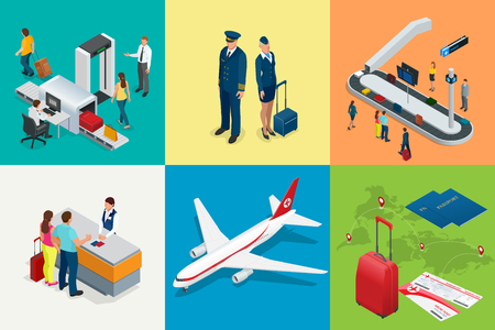 Isometric Airport Travel and transport Icons. Isolated people, airport terminal, airplane, traveler man and woman.