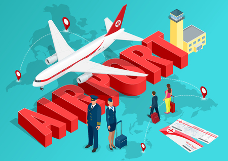 Isometric Airport Travel concept. The passenger plane on the background of the map of the world and the text of the airport with a pilot.