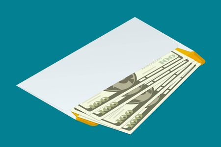 envelope: Isometric white envelope with money. Send money concept. Flat 3d vector illustration. For infographics and design games.