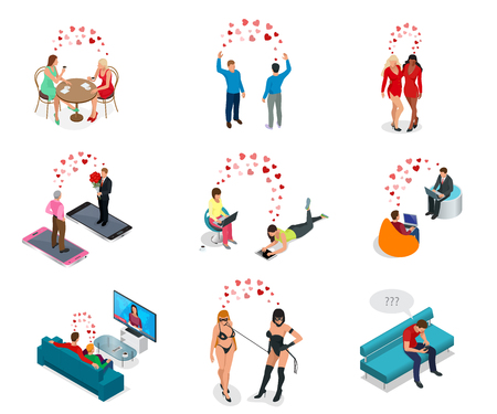 Isometric people. LGBT Gay dating and Lesbian Couple Moments. Happiness Concept. Communicate online, watch TV together, relax in a cafe.