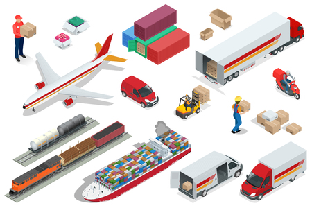Isometric Logistics icons set of different transportation distribution vehicles, delivery elements. Illustration