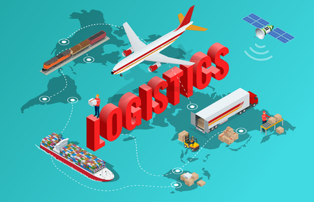 Global logistics network Flat 3d isometric vector illustration Set of air cargo trucking rail transportation maritime shipping On-time delivery Vehicles designed to carry large numbers of China cargo Illustration